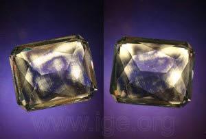 Birrefringencia anómala en un vidrio observado entre polarizadores cruzados.