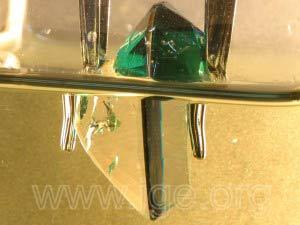 El mismo doblete sumergido en bromoformo. Se observa la composición de la piedra.