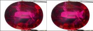 Foto estereoscópica de rubí.