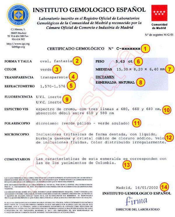Certificado gemológico IGE